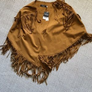 NWT TOPSHOP suede fringe cape